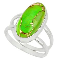 6.18cts green copper turquoise 925 silver solitaire ring jewelry size 8.5 r27163
