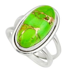 6.48cts green copper turquoise 925 silver solitaire ring jewelry size 7.5 r27173
