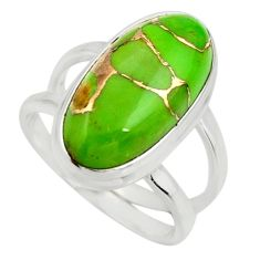 6.03cts green copper turquoise 925 silver solitaire ring jewelry size 6.5 r27179