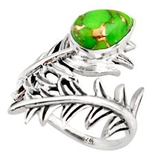 2.24cts green copper turquoise 925 silver solitaire ring jewelry size 6.5 r37007