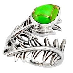 2.35cts green copper turquoise 925 silver solitaire ring jewelry size 5.5 r37009