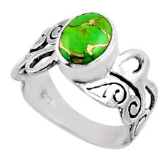 3.35cts green copper turquoise 925 silver solitaire ring jewelry size 9.5 r54688