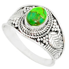 1.91cts green copper turquoise silver solitaire handmade ring size 7.5 r81493