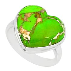 9.56cts green copper turquoise 925 silver solitaire ring jewelry size 7.5 r84720
