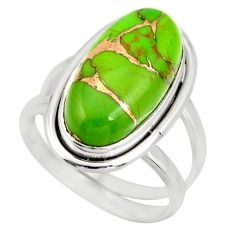 6.11cts green copper turquoise 925 silver solitaire ring jewelry size 7 r27162