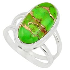6.18cts green copper turquoise 925 silver solitaire ring jewelry size 7 r27165