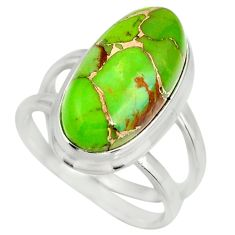 6.18cts green copper turquoise 925 silver solitaire ring jewelry size 7 r27166
