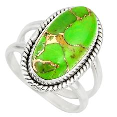 6.12cts green copper turquoise 925 silver solitaire ring jewelry size 7 r27169