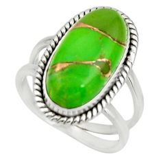 6.03cts green copper turquoise 925 silver solitaire ring jewelry size 7 r27170