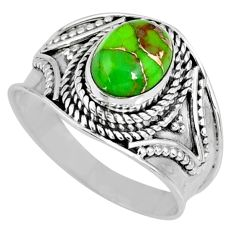 2.05cts green copper turquoise 925 silver solitaire ring jewelry size 7 r57923