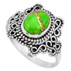 3.11cts green copper turquoise 925 silver solitaire ring jewelry size 8 r26995