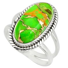 7.07cts green copper turquoise 925 silver solitaire ring jewelry size 8 r27167