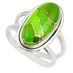 6.26cts green copper turquoise 925 silver solitaire ring jewelry size 8 r27171