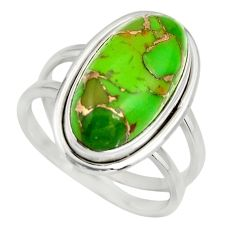 6.48cts green copper turquoise 925 silver solitaire ring jewelry size 8 r27172