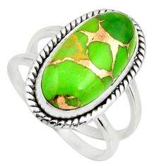 6.26cts green copper turquoise 925 silver solitaire ring jewelry size 8 r27176
