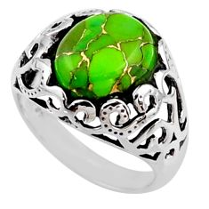 5.31cts green copper turquoise 925 silver solitaire ring jewelry size 8 r54611