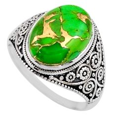 6.36cts green copper turquoise 925 silver solitaire ring jewelry size 8 r54627