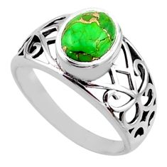 3.25cts green copper turquoise 925 silver solitaire ring jewelry size 8 r54669