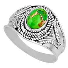 2.09cts green copper turquoise 925 silver solitaire ring jewelry size 9 r57921