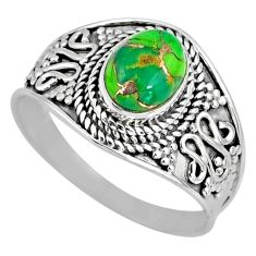 2.05cts green copper turquoise 925 silver solitaire ring jewelry size 9 r57926