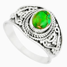 1.96cts green copper turquoise 925 silver solitaire handmade ring size 9 r81494
