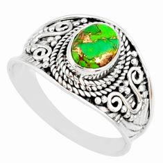 1.94cts green copper turquoise 925 silver solitaire handmade ring size 9 r81498