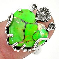 11.57cts green copper turquoise 925 sterling silver flower ring size 7 t6412