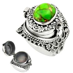4.15cts green copper turquoise 925 sterling silver poison box ring size 7 r41218