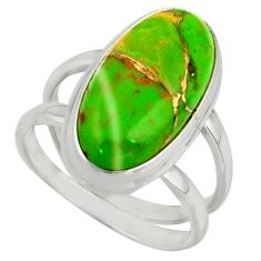 7.22cts green copper turquoise 925 sterling silver ring jewelry size 6.5 r42214