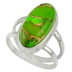 7.60cts green copper turquoise 925 sterling silver ring jewelry size 7.5 r42215