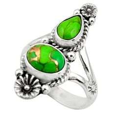 5.27cts green copper turquoise 925 sterling silver ring jewelry size 8.5 r44694