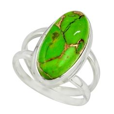 7.67cts green copper turquoise 925 sterling silver ring jewelry size 7 r42211