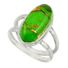 8.08cts green copper turquoise 925 sterling silver ring jewelry size 8 r42210