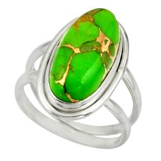 7.90cts green copper turquoise 925 sterling silver ring jewelry size 8 r42212