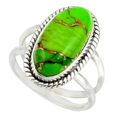 8.02cts green copper turquoise 925 sterling silver ring jewelry size 8 r42213