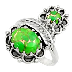 5.96cts green copper turquoise 925 sterling silver ring jewelry size 8 r44515