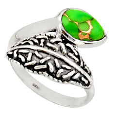 2.44cts green copper turquoise 925 sterling silver solitaire ring size 9 r36901