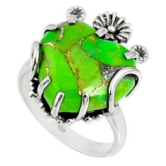 11.69cts green copper turquoise heart 925 silver heart ring size 7 r67508