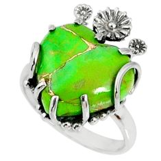 13.15cts green copper turquoise heart 925 silver heart ring size 9 r67507