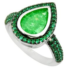 5.87cts green crack crystal emerald (lab) 925 silver ring size 6.5 c9158