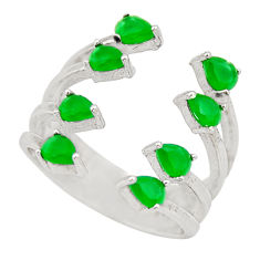 4.52cts green emerald (lab) 925 sterling silver adjustable ring size 6.5 c9106