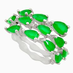 4.18cts green emerald (lab) 925 sterling silver ring jewelry size 6 c9041