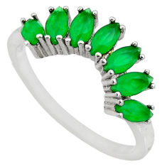 1.96cts green emerald (lab) 925 sterling silver ring jewelry size 7 c9458