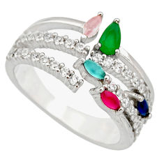 3.51cts green emerald (lab) chalcedony 925 sterling silver ring size 6 c9147