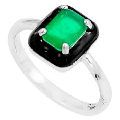 1.63cts green emerald (lab) enamel 925 silver solitaire ring size 7 c23571