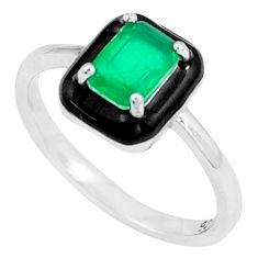 1.74cts green emerald (lab) enamel 925 silver solitaire ring size 8 c23569
