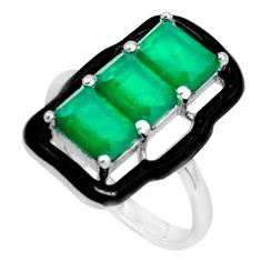 4.73cts green emerald (lab) enamel 925 sterling silver ring size 7 c19345