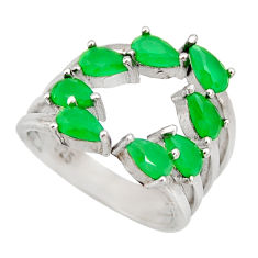 4.52cts green emerald (lab) pear 925 sterling silver ring jewelry size 4 c9087