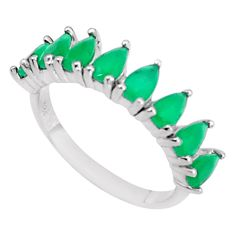2.96cts green emerald (lab) pear 925 sterling silver ring jewelry size 6 c19335