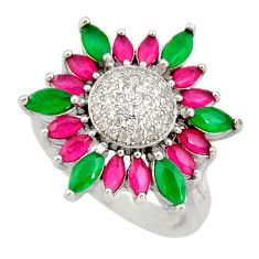 5.42cts green emerald (lab) ruby (lab) 925 sterling silver ring size 6.5 c9052